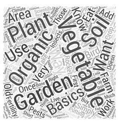 Organic vegetable garden basics word cloud concept vector