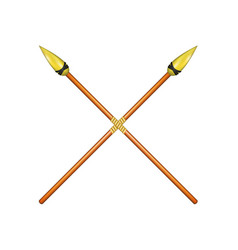 Two crossed spears with golden tip vector