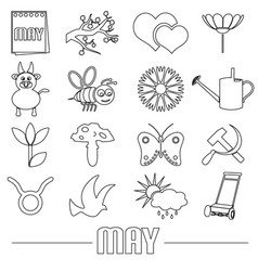 May month theme set of simple outline icons eps10 vector