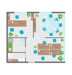 Architecture office plan with furniture top view vector