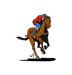 Horse and Jockey Racing Retro vector image