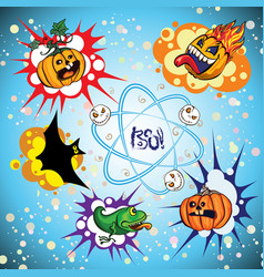 set of halloween speech bubble vector image
