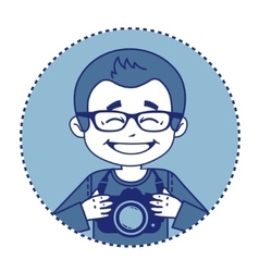 Smile photographer with camera vector