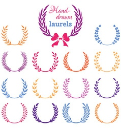 Set of colourful laurel wreaths vector