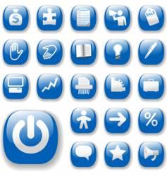 shiny blue control button vector image