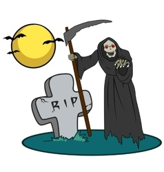Halloween creature on graveyard vector