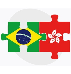 Brazil and hong kong sar china flags vector