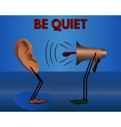 Be quiet warning cartoon vector