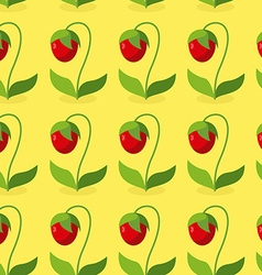 Ripe red strawberries with green leaves seamless vector