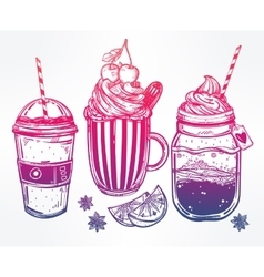 Tasty drinks set in vintage style vector image