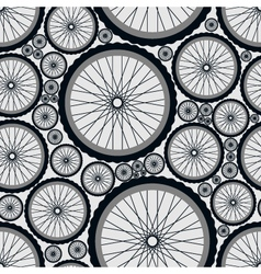 Seamless pattern with bike wheels vector image