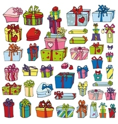Colored gift boxesholiday doodle set vector