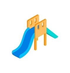 Playground blue slide isometric 3d icon vector