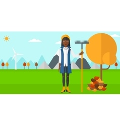 Woman with rake near tree and heap of leaves vector