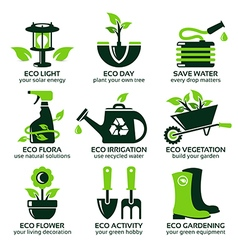 Flat icon set for green eco garden vector
