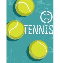 Tennis vintage grunge style poster vector