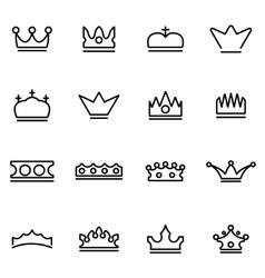 Line crown icon set vector