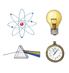 Atom and prism light bulb and compass engraved vector