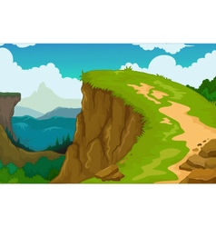 beauty mountain cliff landscape background vector image
