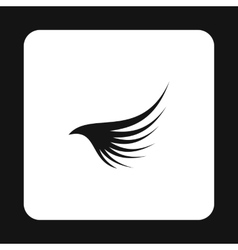 Black long wing icon simple style vector