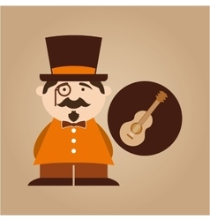 character male hipster music guitar vector image