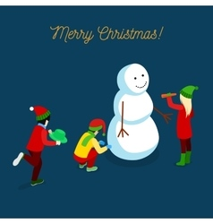 Christmas isometric greeting card with snowman vector