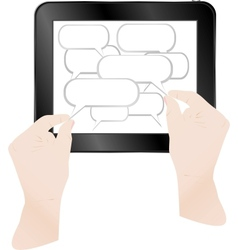 Cloud with computer tablet vector