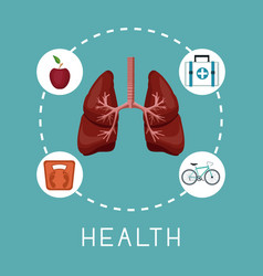 color background with lungs organ in center with vector image