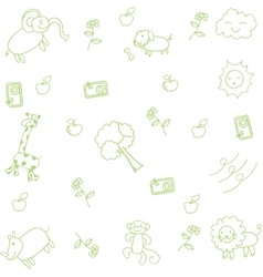 Cute animal for kids doodle art vector