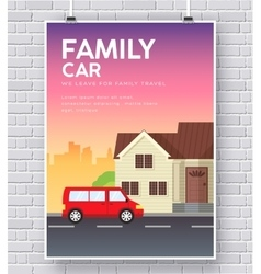 Family car with house home concept on vector