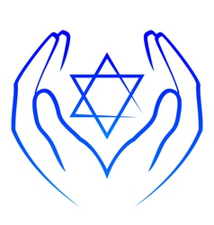 icon - hands holdin star of David vector image vector image