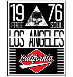 Los angeles motorcycle skull typography poster vector