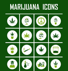 marijuana icon set vector image vector image