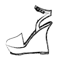 Monochrome blurred contour of sandal shoe with vector