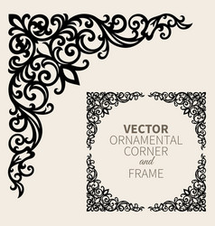 Ornamental corner frame vector