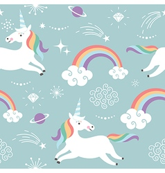 seamless pattern with cute unicorns vector image vector image