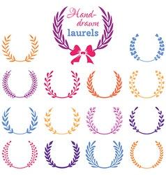 Set of colourful laurel wreaths vector