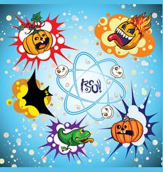 set of halloween speech bubble vector image vector image