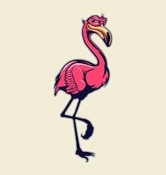 standing flamingo mascot vector image