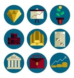 Stock exchange flat icons set vector image