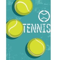 Tennis vintage grunge style poster vector