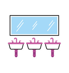 Three sink mirror for toilet bathroom equipment vector