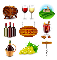 Wine and winemaking icons set vector