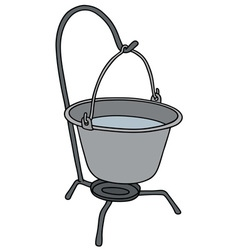 Metal camping kettle vector