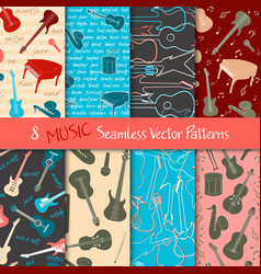 Set of musical seamless patterns vector