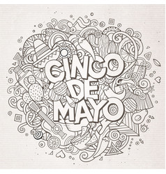 cinco de mayo cartoon hand drawn doodle vector image