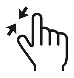 2 finger zoom out line icon touch and gesture vector image