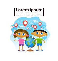 small kids holding globe over world map children vector image