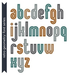 Elegant colorful typescript retro rounded letters vector