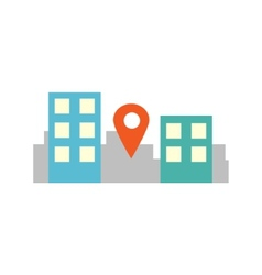 Flat style city with pin sign vector